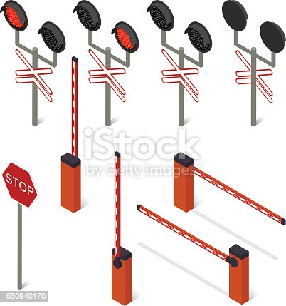 """istock Isometric barrier. A light railway. The Sign """"Stop"""". 530940170"""