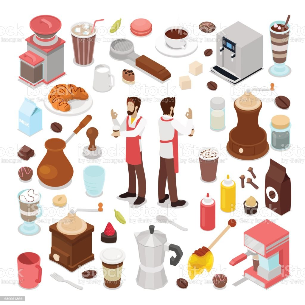 Isometric Bartender and Coffee Cafe Collection vector art illustration