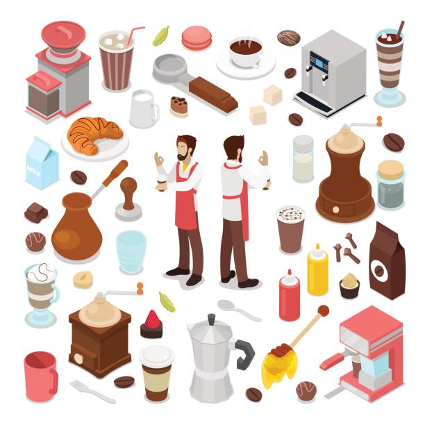 isometric bartender and coffee cafe collection - barista stock illustrations, clip art, cartoons, & icons