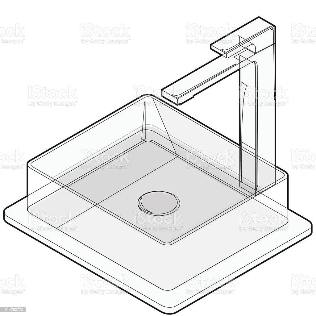 Ilustración de Isométricos Lavamanos Con Barril Lavamanos Del Baño ...