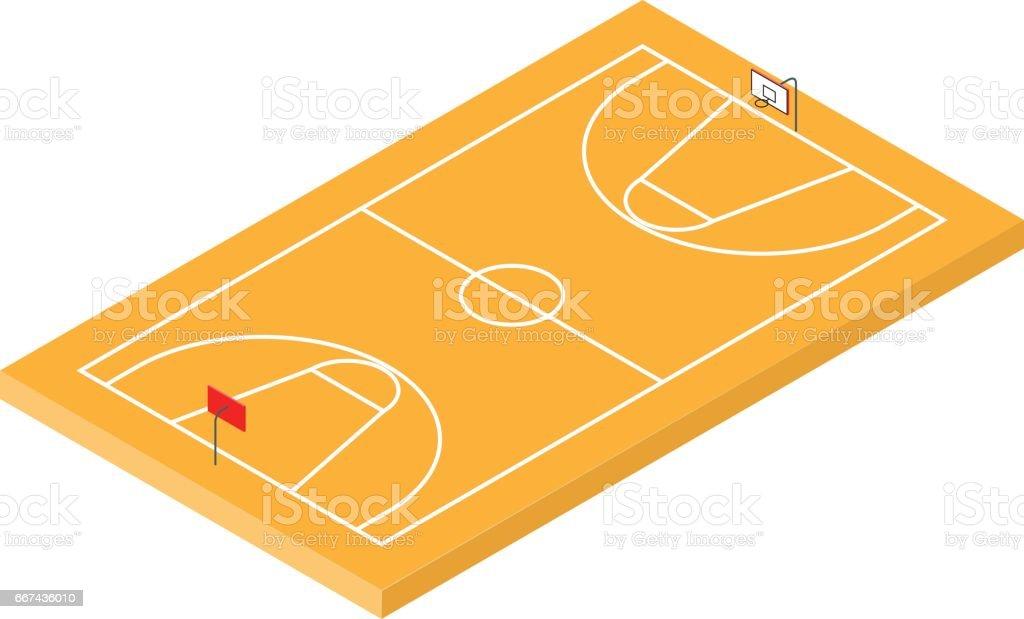 Isometric Basketball Court icon vector art illustration