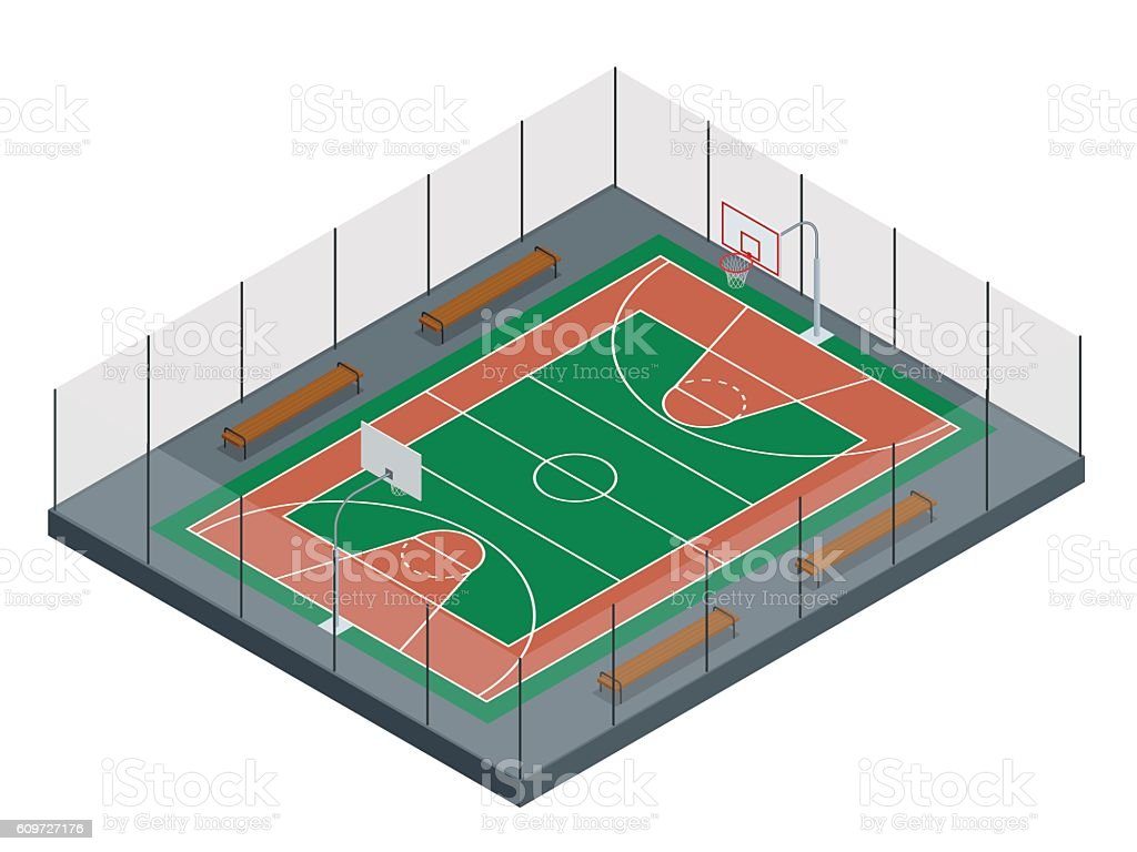 Isometric Basketball court. Sport arena. vector art illustration
