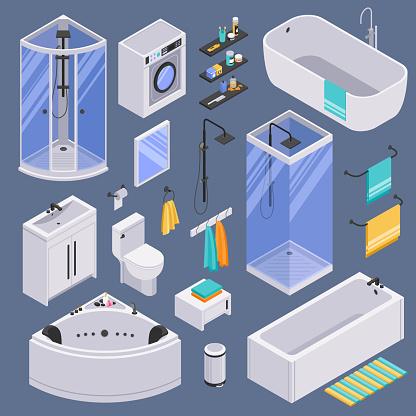 isometric bathroom background