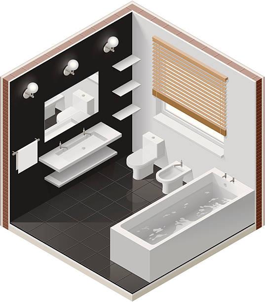 isometric badezimmer-symbol - spiegelfliesen stock-grafiken, -clipart, -cartoons und -symbole