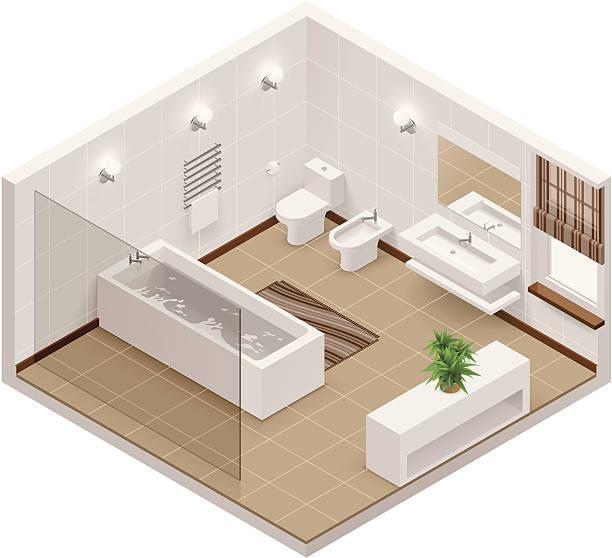 isometric badezimmer-symbol - badezimmer stock-grafiken, -clipart, -cartoons und -symbole