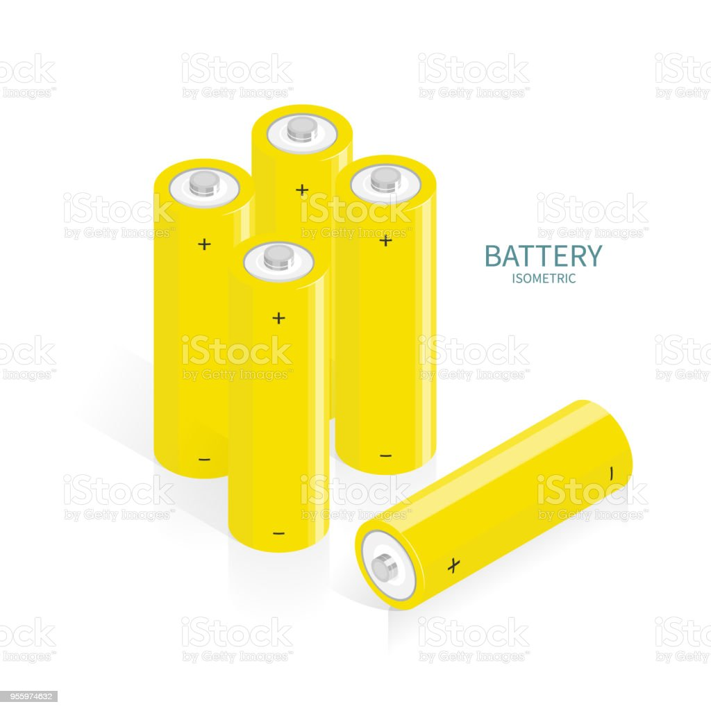 isometric battery AA charger vector vector art illustration