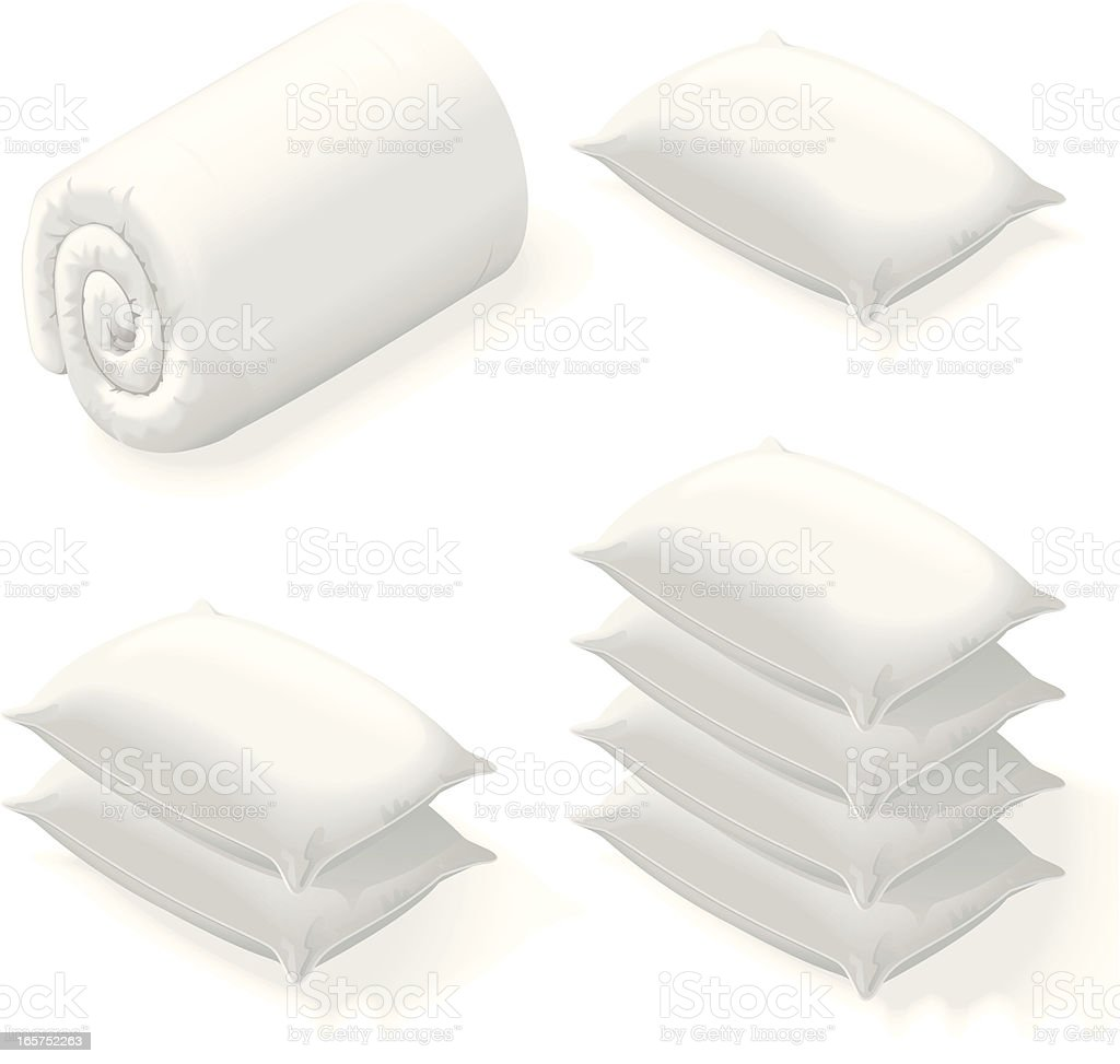 Isometric bedding vector art illustration