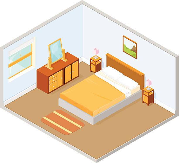 isometric schlafzimmer innenansicht - bodenbetten stock-grafiken, -clipart, -cartoons und -symbole