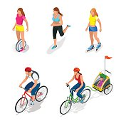 Isometric Bicycle. Family Cyclists. Roller Skating girl.