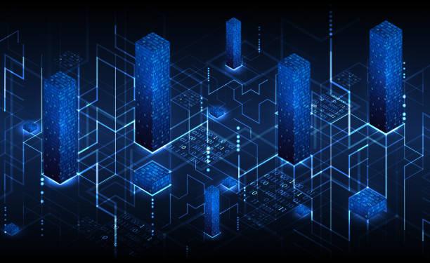 Isometrische big-Data Flow Verfahrenskonzept, Cloud-Datenbank. Abstrakte Technik Hintergrund. – Vektorgrafik