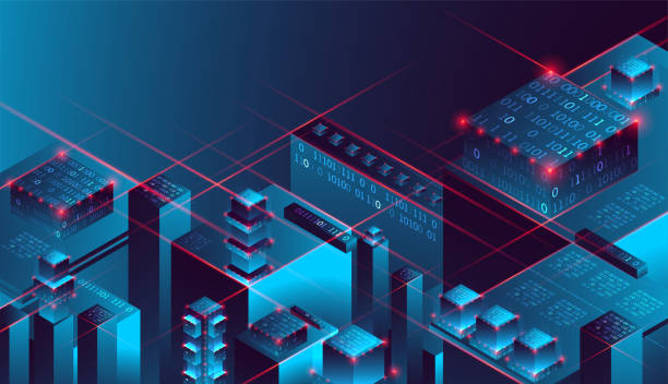 Isometric big data flow processing concept, database. Abstract technology background. Vector illustration vector art illustration