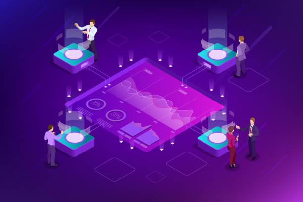 等距大資料網路視覺化、高級分析、交互資料分析、研究、審計、人口統計學、人工智慧、規劃、統計、數位 dna 結構、管理 - 金融與經濟 幅插畫檔、美工圖案、卡通及圖標