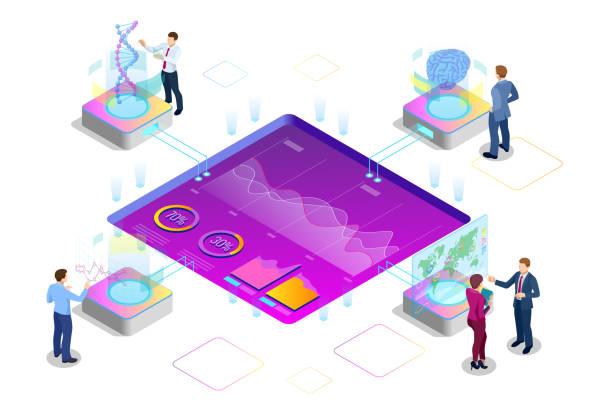等尺性の大きなデータ ネットワークの可視化、分析、相互作用データ分析、研究、監査、人口統計、高度な人工知能、計画、統計、デジタル dna 構造、管理 - 金融と経済点のイラスト素材/クリップアート素材/マンガ素材/アイコン素材