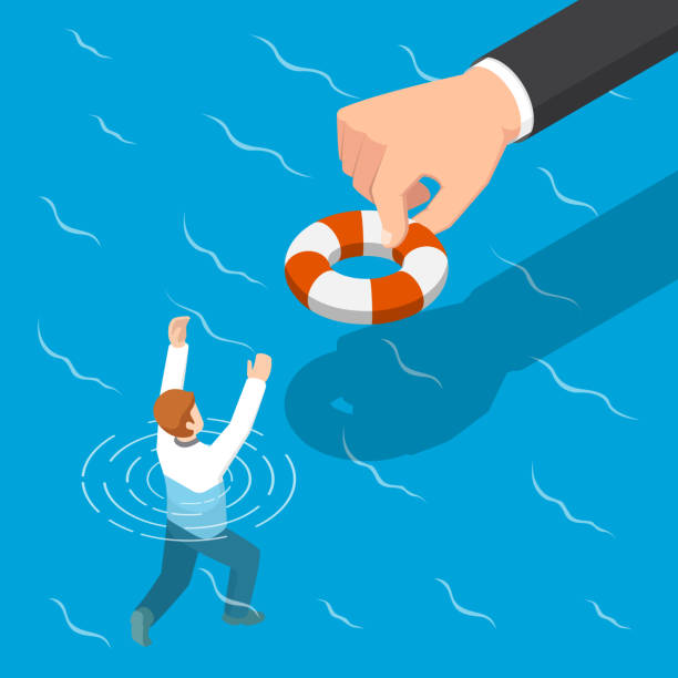 Isometric big hand giving a lifebuoy to help businessman. Flat 3d isometric big hand giving a lifebuoy to help businessman. Helping business to survive concept. recession stock illustrations