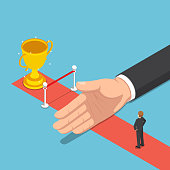 Flat 3d isometric big hand hinder businessman from finish line and trophy. Business and success obstacle concept.