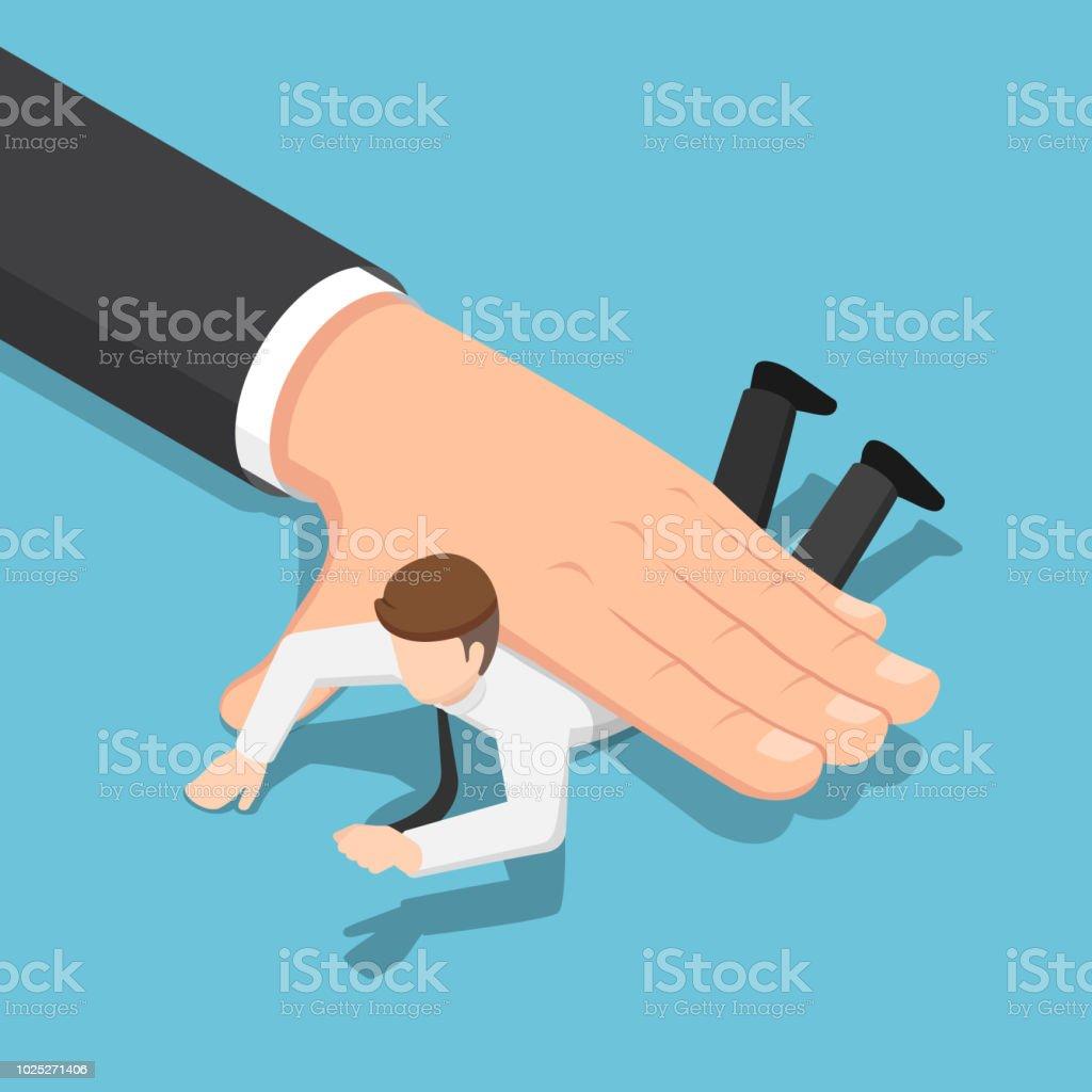 Isométrico de gran mano empresario empujando hacia abajo en el piso - ilustración de arte vectorial
