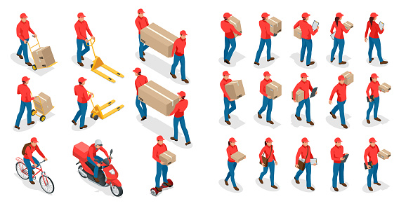 Isometric big set of delivery man and woman in uniform holding boxes and documents in different poses. Collection delivery service workers isolated on white background.