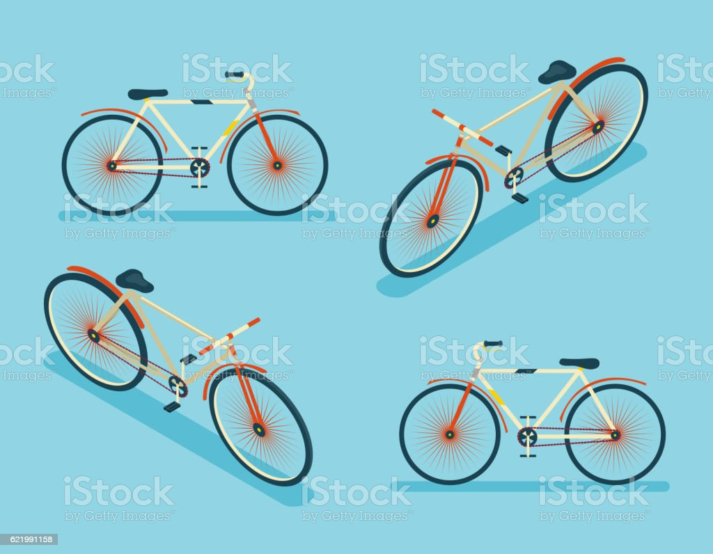 isometric bike icon 3d symbol flat design template vector