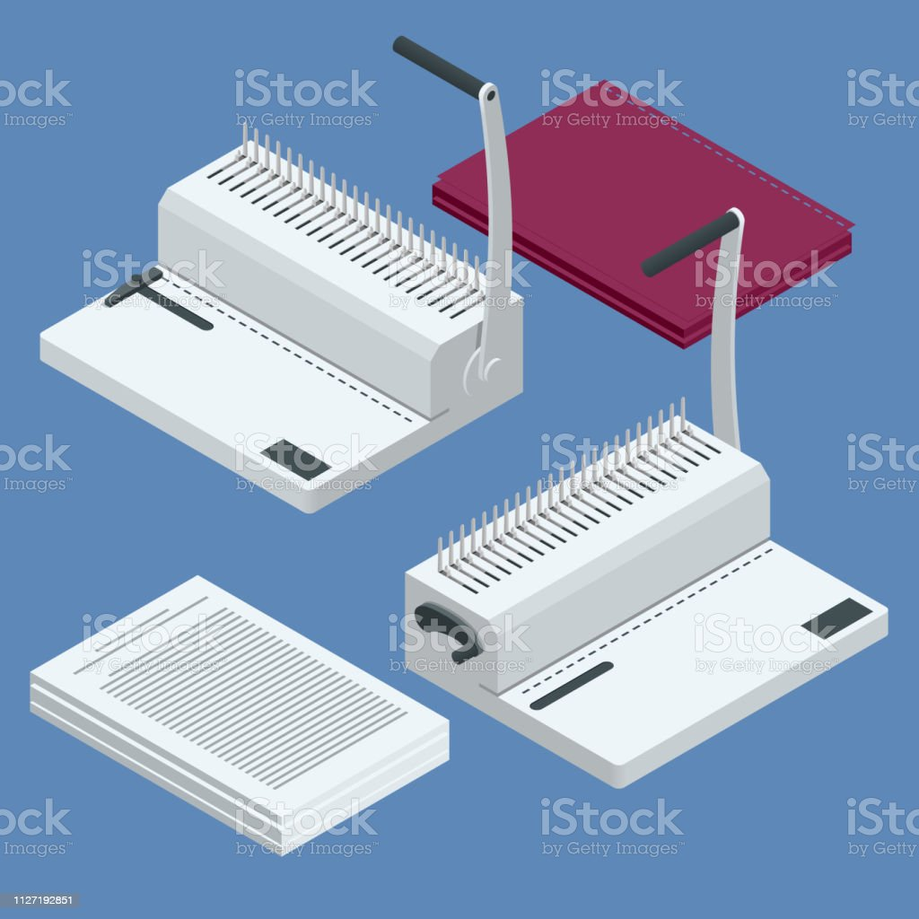 Isometric binder machine. Binding documents with plastic ring binder by using ring binding machine for report preparation. Vector illustration vector art illustration