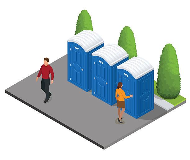 stockillustraties, clipart, cartoons en iconen met isometric bio mobile toilets in the city. - cell phone toilet