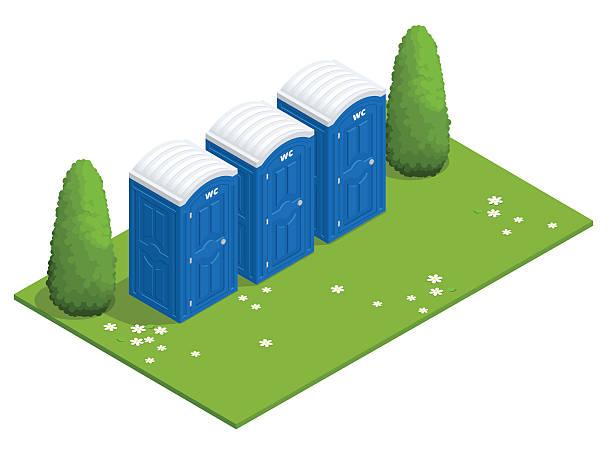 stockillustraties, clipart, cartoons en iconen met isometric bio mobile toilets on grass. - cell phone toilet