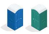 Isometric bio toilet cabin. Blue and green. Hiking services. Flat color style vector icon.