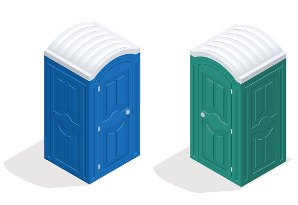 stockillustraties, clipart, cartoons en iconen met isometric bio toilet cabin. blue and green. hiking services - cell phone toilet