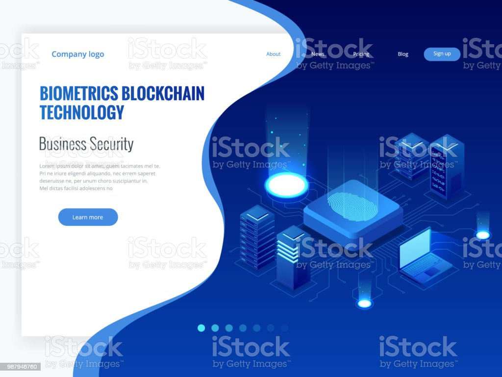 Isometric Biometrics Blockchain Technology and Finger Print Scanning Identification System. Biometric Authorization and Business Security Concept. vector art illustration
