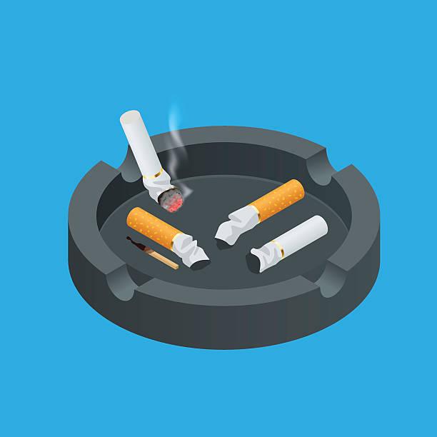 illustrazioni stock, clip art, cartoni animati e icone di tendenza di isometric black ceramic ashtray full of smokes cigarettes - cicca sigaretta