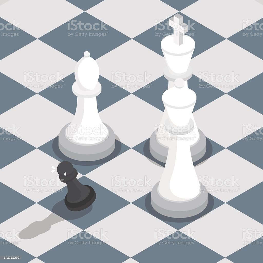 Isometric black pawn surrounded by white king queen bishop vector art illustration