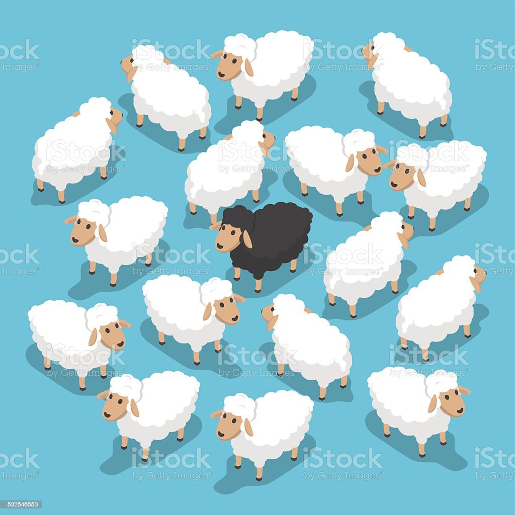Isometric black sheep in the flock vector art illustration