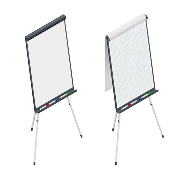 isometrische leere flip-chart. whiteboard und leeres papier, vortrag und seminar - flipchart stock-grafiken, -clipart, -cartoons und -symbole