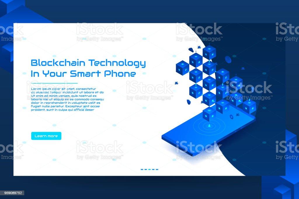 Isometric blockchain technology banner concept vector art illustration
