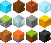 Isometric blocks with different texture for 3d game location design. Lava, stones, ice and grass. Metal and wood vector cubes