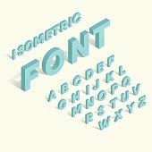 Isometric blue alphabet font