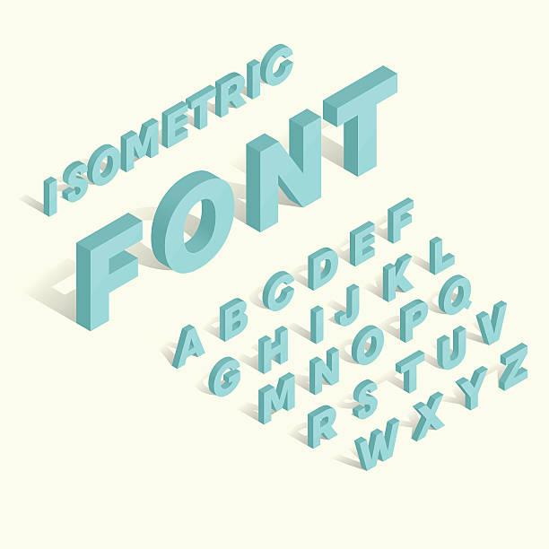 Isometric blue alphabet Schrift – Vektorgrafik