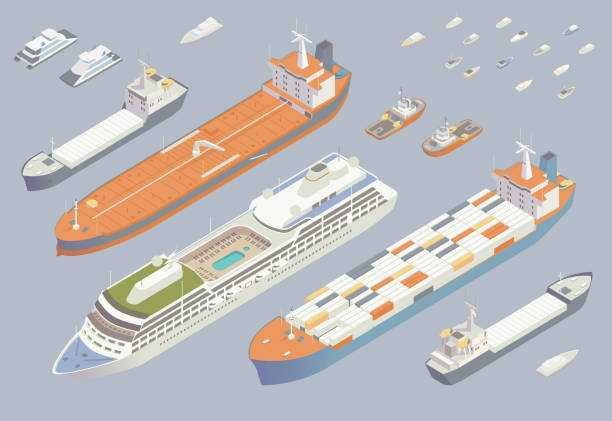 Isometric boats and ships vector art illustration