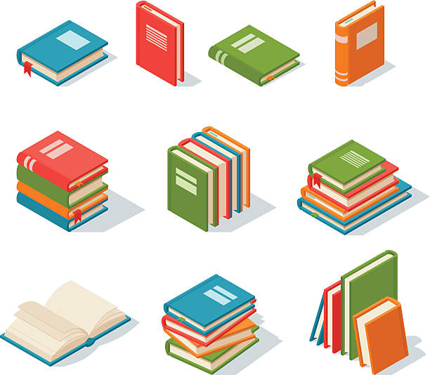 Isometric book icon vector illustration. Isometric book icon vector illustration in flat design style isolated on white. Academic book learning symbol, reading school sign. Knowledge reading design isolated science university text book cover information. dictionary stock illustrations