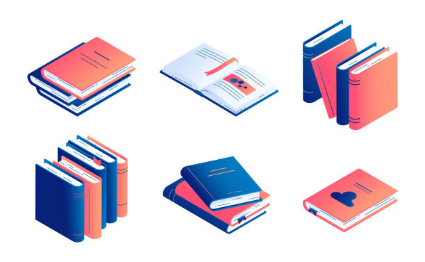 Isometric book vector illustration set - isolated closed and open paper literature or diary. Isometric book vector illustration set - isolated closed and open paper literature or diary with bookmarks for education and school studying concept, encyclopedia or dictionary. book clipart stock illustrations