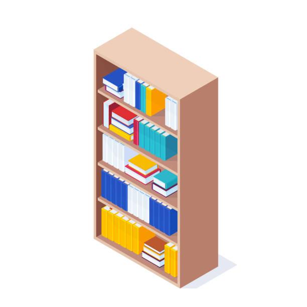 stockillustraties, clipart, cartoons en iconen met isometrische boekenkast geïsoleerd. - boekenkast