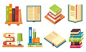 Books and library literature, vector flat and isometric icons. School education and reading books open with bookmark and closes standing stack on bookstore shelves and home table