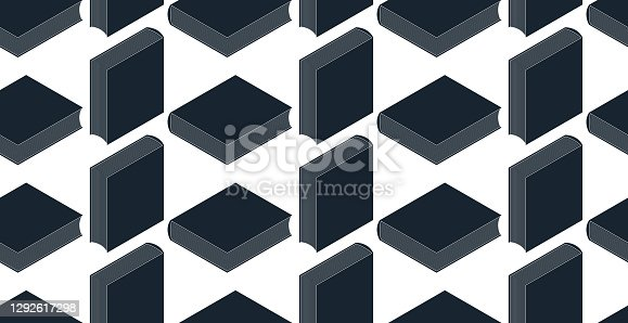 istock 3D isometric books seamless vector background, endless wallpaper with printed books library theme, ebook virtual literature. 1292617298