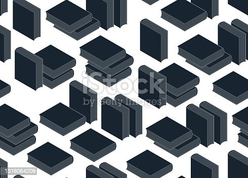 istock 3D isometric books seamless vector background, endless wallpaper with printed books library theme, ebook virtual literature. 1316064209