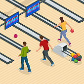 Isometric Bowling Center Interior with Game Equipment. Vector Bowling Alley for Game and Party. Flat vector isometric illustration