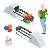 Isometric Bowling pins at bowling machine. A bowling ball return right out of a bowling alley. Vector illustration isolated on white