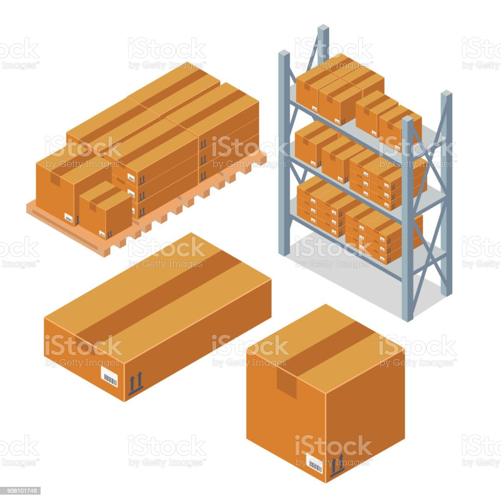 Isometric Box Cardboard Packaging Square And Rectangular
