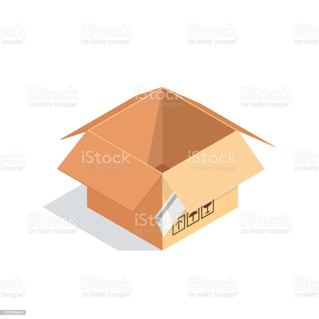 Isometric box isolated on white background. vector art illustration