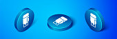istock Isometric Boxing glove icon isolated on blue background. Blue circle button. Vector 1293076021