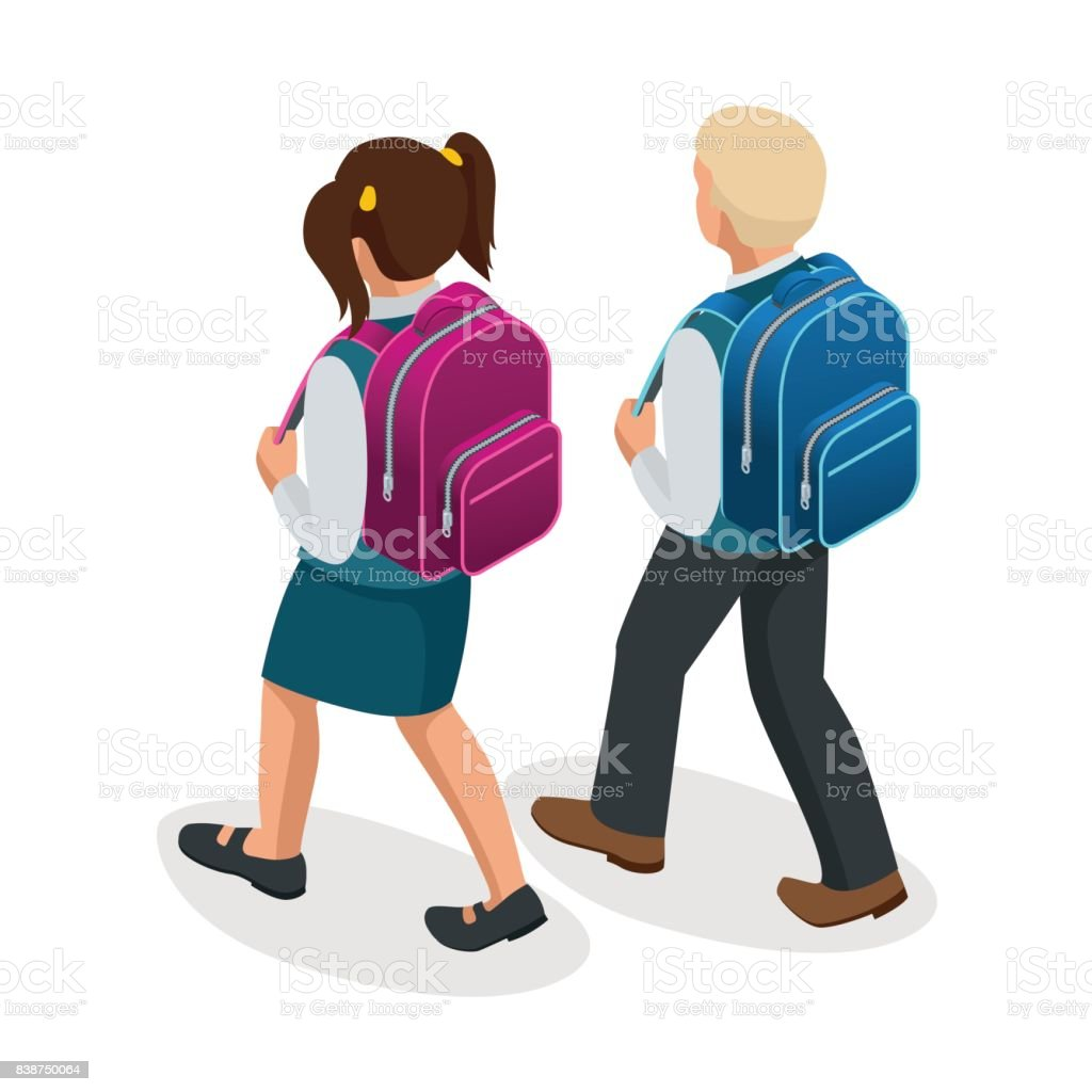 Isometric Boy And Girl Back To School Concept Children Go To