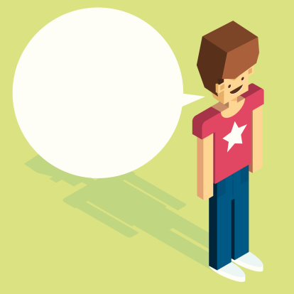 isometric boy with speech bubble